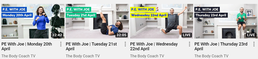 Joe Wicks Youtube Channel